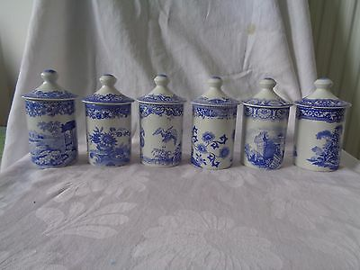 Pretty Set Of 6 Spode Blue Room Collection Lidded Jars Spices / Herbs