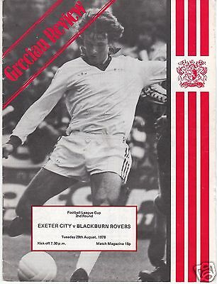 Exeter City V Blackburn Rovers League Cup  29/8/78