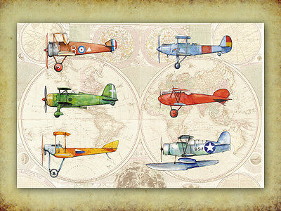 Airplane Old World map decor Nursery prints Vintage military prop aircraft