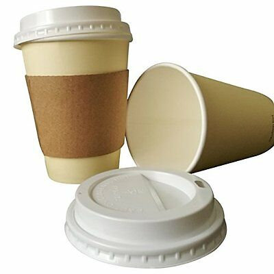 Strong 12 ounce Paper Coffee cups with travel lids and protective corrugated ...
