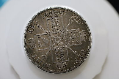 Uk Gb Double Florin 1887 Silver A69 #6804