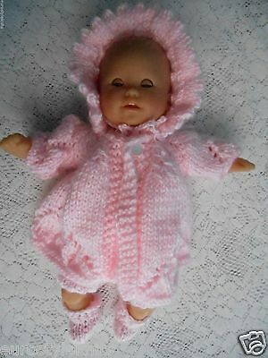 """Doll Clothes Hand-knit Pink Matinee Set Fits 12"""" Berenguer, Corolle Premie Dolls"""