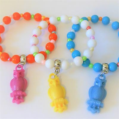 childrens bracelets set x3 strechy with owl pendant charm orange white blue kids