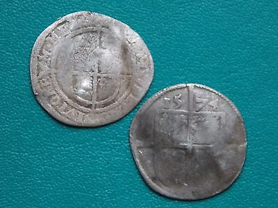 2 unresearched medieval hammered silver coins metal detecting detector finds