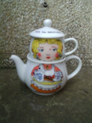 Vintage - Tea For Mother - Novelty Teapot And Cup