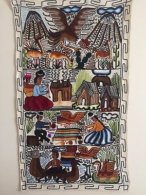 Vintage 1960's Hand Embroidered Peruvian Wall Hanging Tapestry Textile