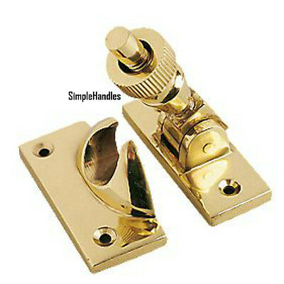 QUALITY SOLID BRASS SASH BRIGHTON WINDOW FASTENER Lock Twist Wood Frame Catch