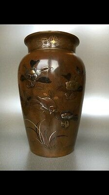 Antique Japanese Bronze Vase Meiji Period, Mixed Metal Inlays