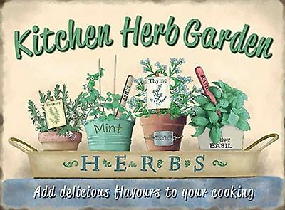 Fabulous Vintage Retro Style Metal Wall Sign Herbs Kitchen Garden Plaque