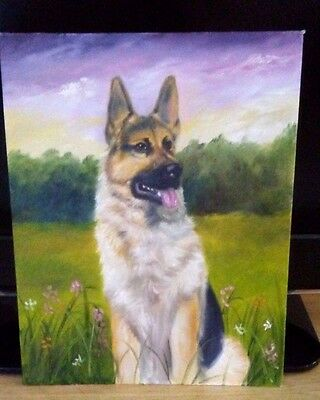 BEAUTIFUL GERMAN SHEPHERD DOG OIL PAINTING ON CANVAS 11 x 14
