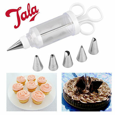 Cup Cake Icing Syringe 6 Nozzles Set Piping Baking Cream Decoration TALA Biscuit