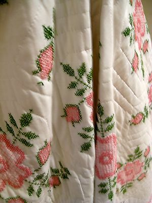 Vintage Cross Stitch Embroidered Quilt,,never Used, 90X98,crisp,clean&cotton