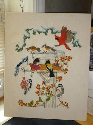 """1981 Dimensions Winter Birds at Feeder Crewel Embroidery Finished 16"""" X 20"""""""