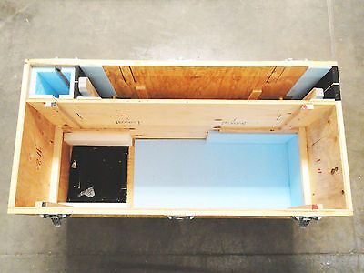 Large Wooden Shipping/Road Case on 6 Casters - 3 compartsments & removable shelf