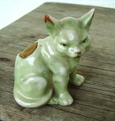 Vintage Japanese Lusterware Porcelain Cat Pin Cushion