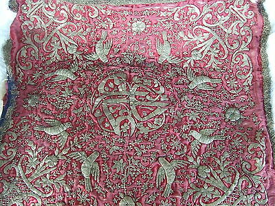 Antique silk panel with metallic thread embroidery and stumpwork