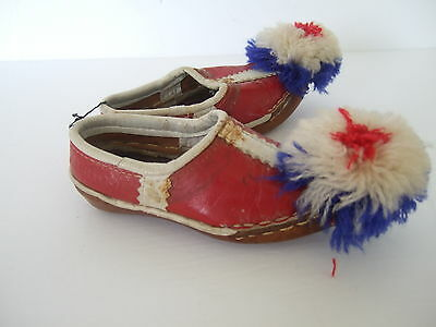 Traditional Greek Shoes / Tsarouchia Red White Blue Leather Baby Toddler