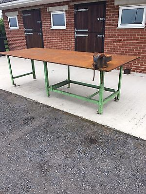 Large Heavy Duty Metal Work Bench With No6 Vice