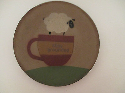 "Primitive Wood Plate Sheep Coffee Mug ""stay grounded"" Country Kitchen Home Decor"