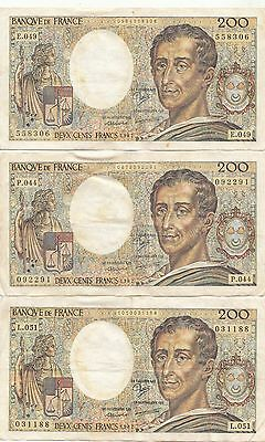 Lot de 6 billets 200 Francs Montesquieu 1987-1988