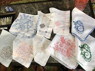 Gorgeous MADEIRA M S A L Monogram Linen Lot 9 Hanky Hand Embroidered Wedding