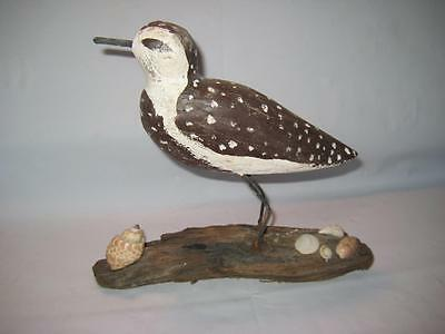 """Vintage Signed Primitive Sandpiper Wood And Wire Bird Carving ~ 7.5"""" X 8"""" X 3"""""""
