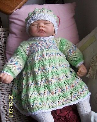 Newborn Baby Girls Hand Knitted Outfit Reborn Dolls Clothes 0-3 mth BABY SOFT