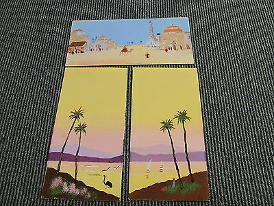 3 Small Watercolour Pictures Of Middle East Region Artist Unknown +Undated