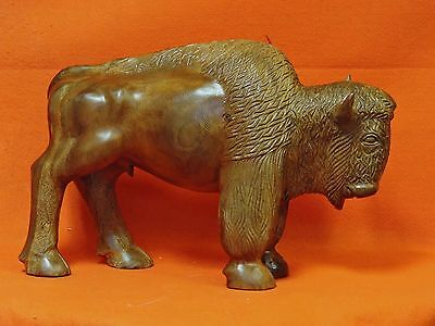 Wooden  Carved Buffalo Bison Wood Statue Wood Carving