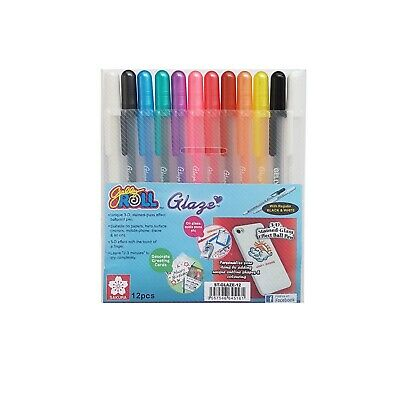 12 Sakura Gelly Roll Glaze Colour Ink 3-D Glossy Pen | Waterproof Stained Glass