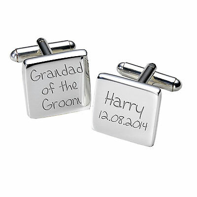 Personalised Silver Plated Square Wedding Role Mens Cufflinks Cuff Links Sets