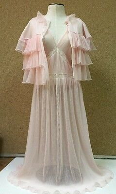 Vtg 2 Pc Peignoir Crystal Pleats Mojud Pink Negligee Jacket Lace L/XL Nightgown