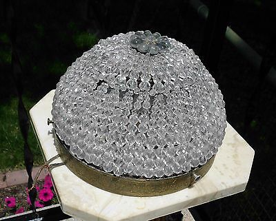 """Spectacular 8"""" Vintage Wire Beaded Ceiling Light Underwriters Laboratories Inc."""