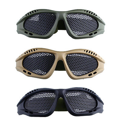 Tactical Outdoor Eye Protective Safety Goggles With Metal Mesh Sport Airsoft