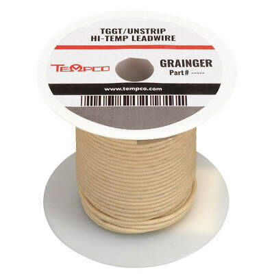 TEMPCO High Temp Lead Wire,12AWG,100ft,Natural, LDWR-1023