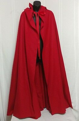 Authentic Colonial Williamsburg Cardinal Red Cloak Cape 100% Wool Handcrafted