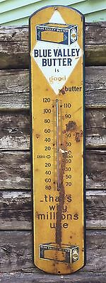 RARE Antique 1915 Large BLUE VALLEY BUTTER Country Store Sign Thermometer
