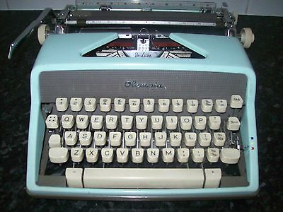 Reduced Price Vintage 60's Olympia De Luxe Typewriter Blue With Case W Germany