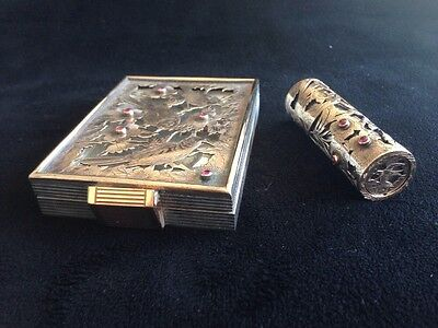 Set Of Silver, Gold-toned And Ruby Vanity Powder And Lipstick By Boucheron Paris