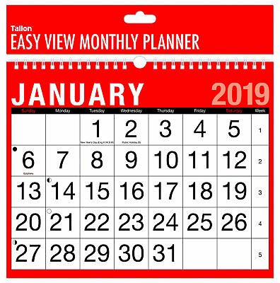 2019 Wall Calendar Easy Month To View / Large Month To View / 3 Month To View