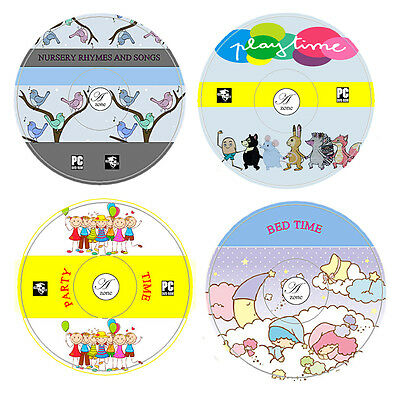 4 CD SET- Children Nursery Rhymes & Songs Playtime Party Time Bedtime Stories