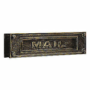 SALSBURY INDUSTRIES Mail Slot,Brass,Horizontal,Antique, 4075A, Antique
