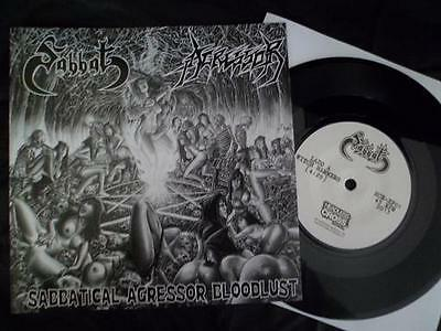 "SABBAT/AGRESSOR Sabbatical Agressor Bloodlust SPLIT 7""EP Black Vinyl Ltd.150"