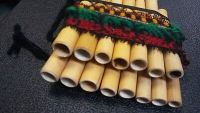 FLUTE KJARKAS PAN FLUTE Authentic Native PAN FLUTE 15 Bamboo Pipes