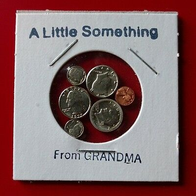 A LITTLE SOMETHING FROM GRANDMA Miniature Token Medals Exonumia Mini Coin Set
