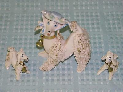 Vintage Spaghetti Porcelain Poodle & Puppies w/bells on, Pink w/ Gold Highlight
