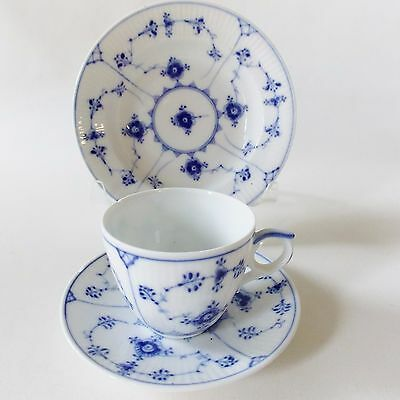 Royal Copenhagen Blue Fluted Plain Cup And Saucer And Fruit Bowl Blue And White