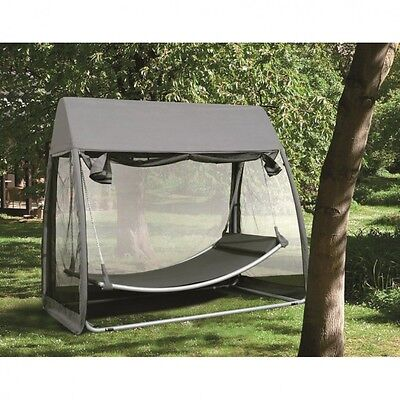Swing Hammock Hanging With Mosquito Net Frame Canopy Cover Garden Patio Luxury