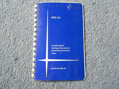 1962 Octel France Cars Technical Information Booklet French Text Original Specs
