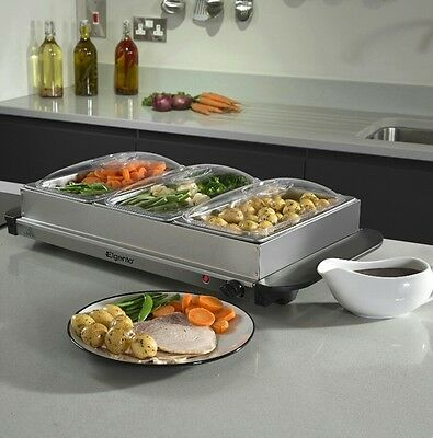 Elgento E322N Three Tray Buffet Server and Warming Tray, 200 W, Stainless Steel